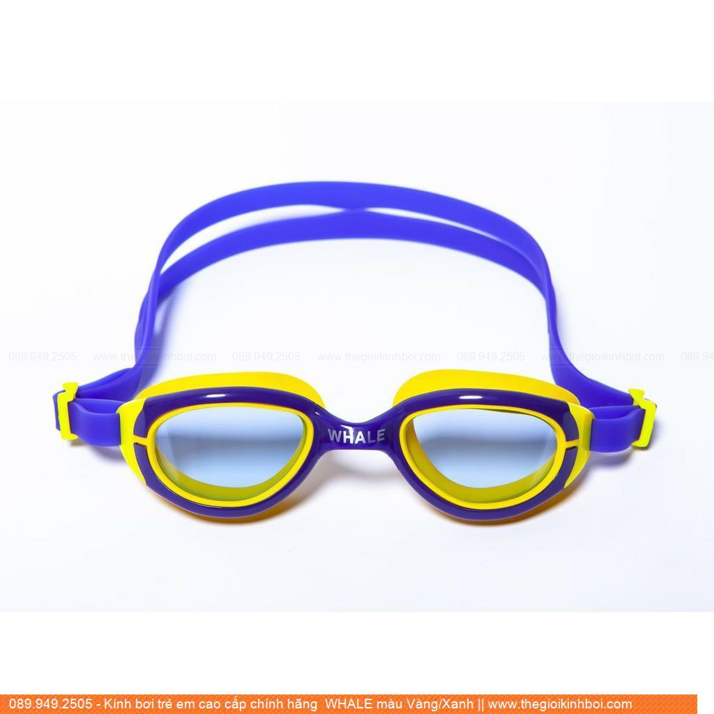 Kính bơi trẻ em cao cấp chính hãng  WHALE màu Vàng/Xanh 4530208XR